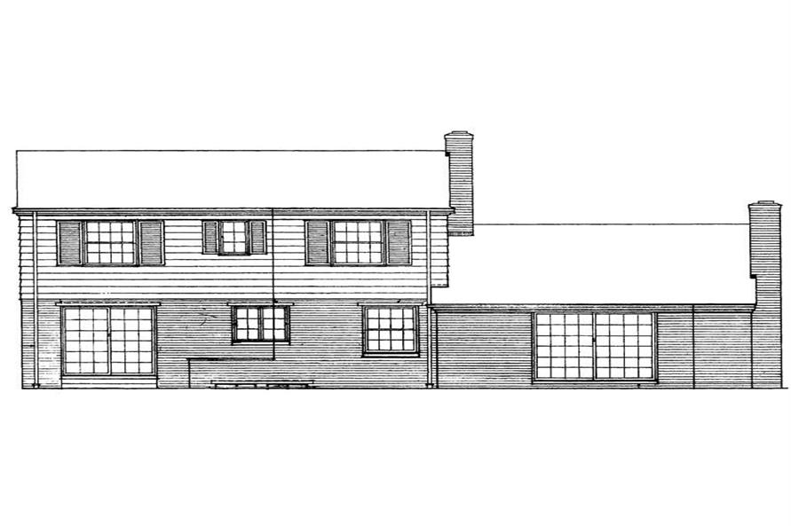 Home Plan Rear Elevation of this 4-Bedroom,1718 Sq Ft Plan -137-1696