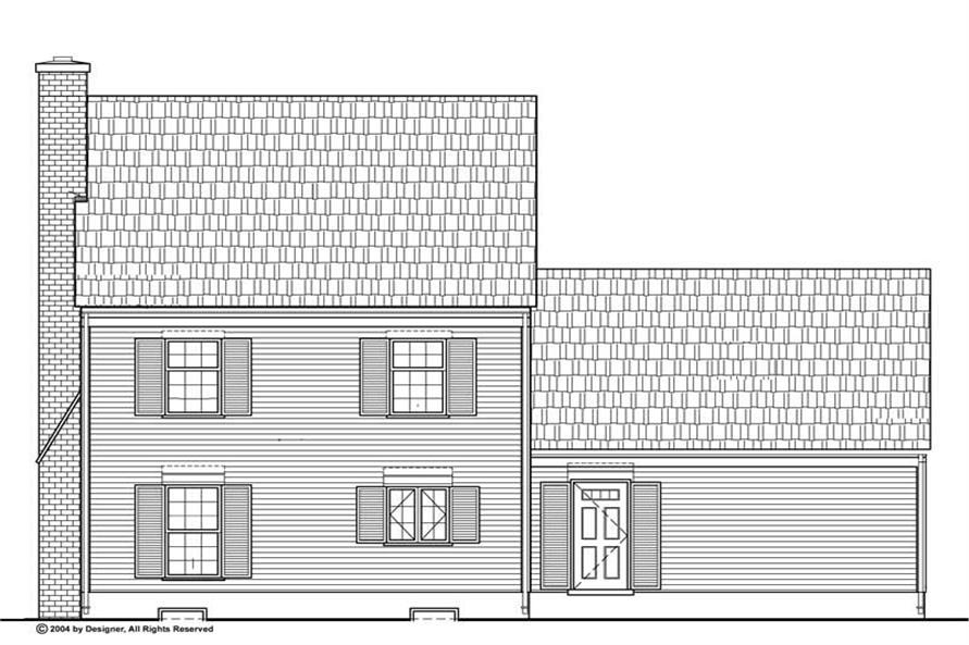 Home Plan Rear Elevation of this 3-Bedroom,1400 Sq Ft Plan -137-1698