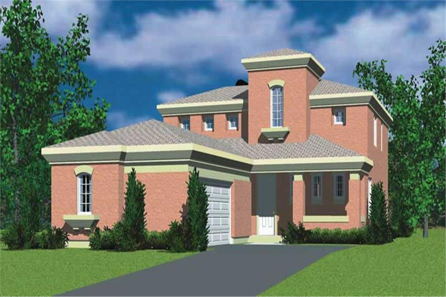 4-Bedroom, 2277 Sq Ft Mediterranean Home Plan - 137-1701 - Main Exterior