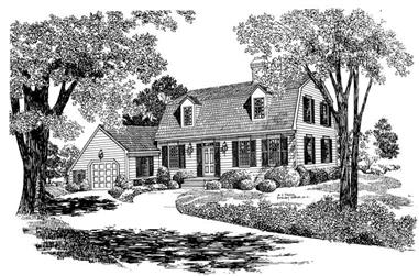 3-Bedroom, 2006 Sq Ft Colonial Home Plan - 137-1716 - Main Exterior