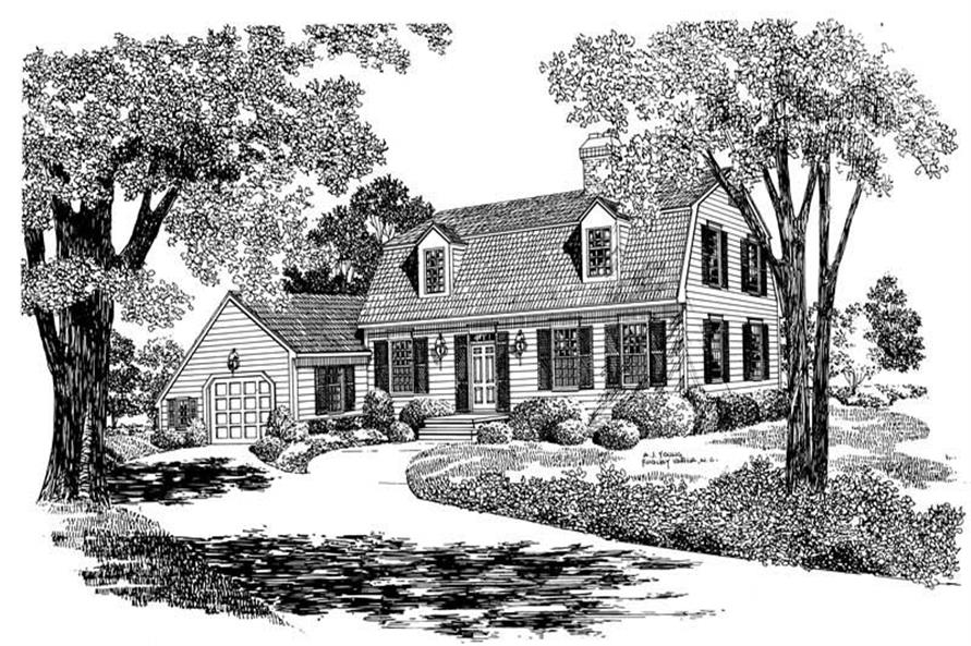 Front elevation of Colonial home (ThePlanCollection: House Plan #137-1716)