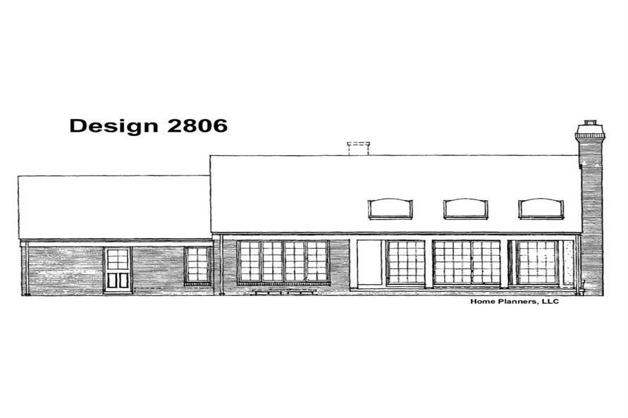 House Plan HW-2806 Rear Elevation
