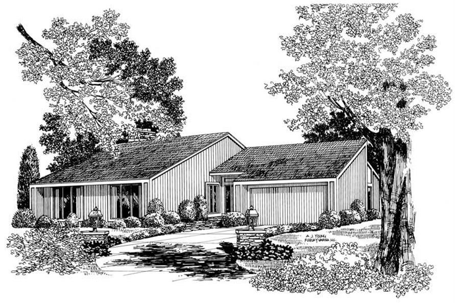3-Bedroom, 1576 Sq Ft Modern House Plan - 137-1724 - Front Exterior