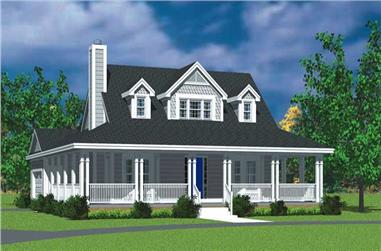 3-Bedroom, 1673 Sq Ft Country House Plan - 137-1726 - Front Exterior