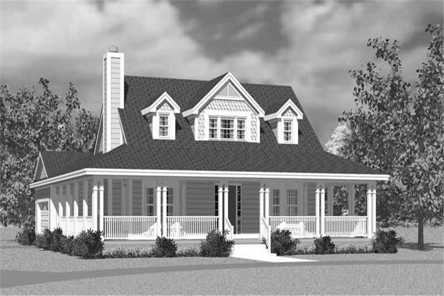 Home Plan Front Elevation of this 3-Bedroom,1673 Sq Ft Plan -137-1726