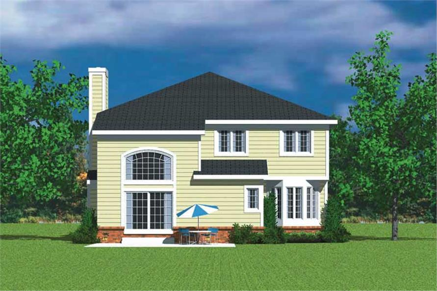 Home Plan Rear Elevation of this 4-Bedroom,3047 Sq Ft Plan -137-1733