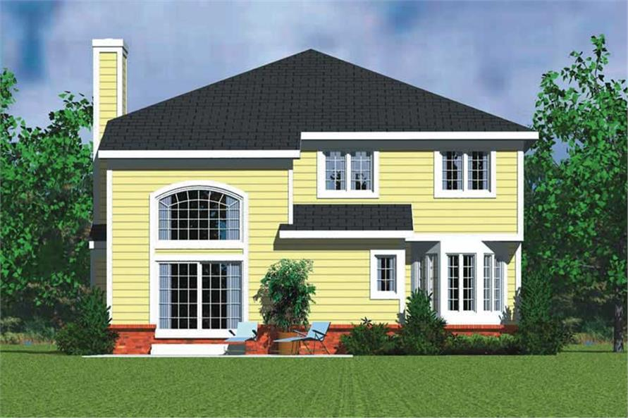 Home Plan Rear Elevation of this 4-Bedroom,3059 Sq Ft Plan -137-1734