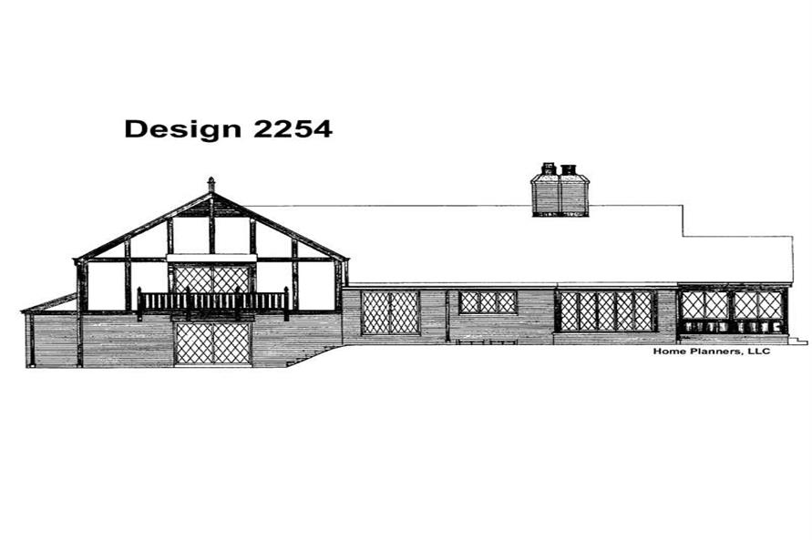 Home Plan Rear Elevation of this 4-Bedroom,2564 Sq Ft Plan -137-1735