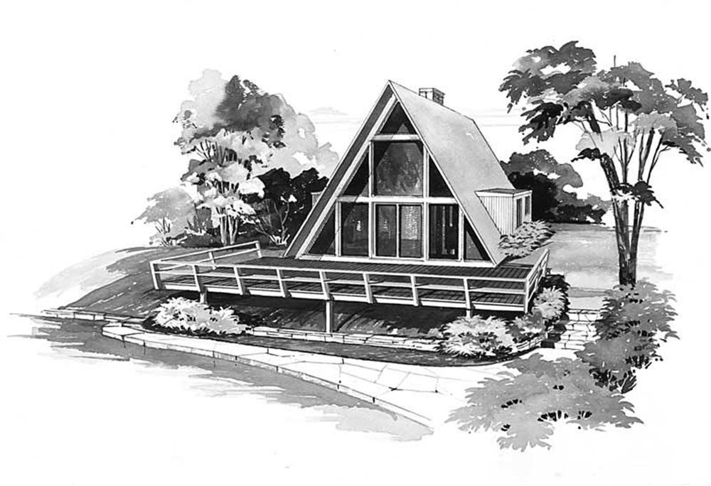 Front elevation of A Frame home (ThePlanCollection: Plan #137-1743)