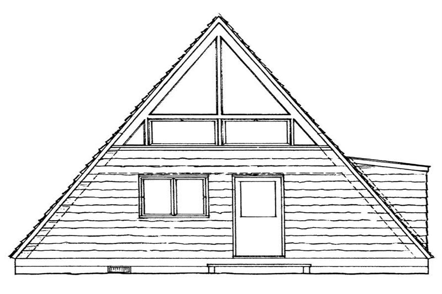 Home Plan Rear Elevation of this 1-Bedroom,810 Sq Ft Plan -137-1744