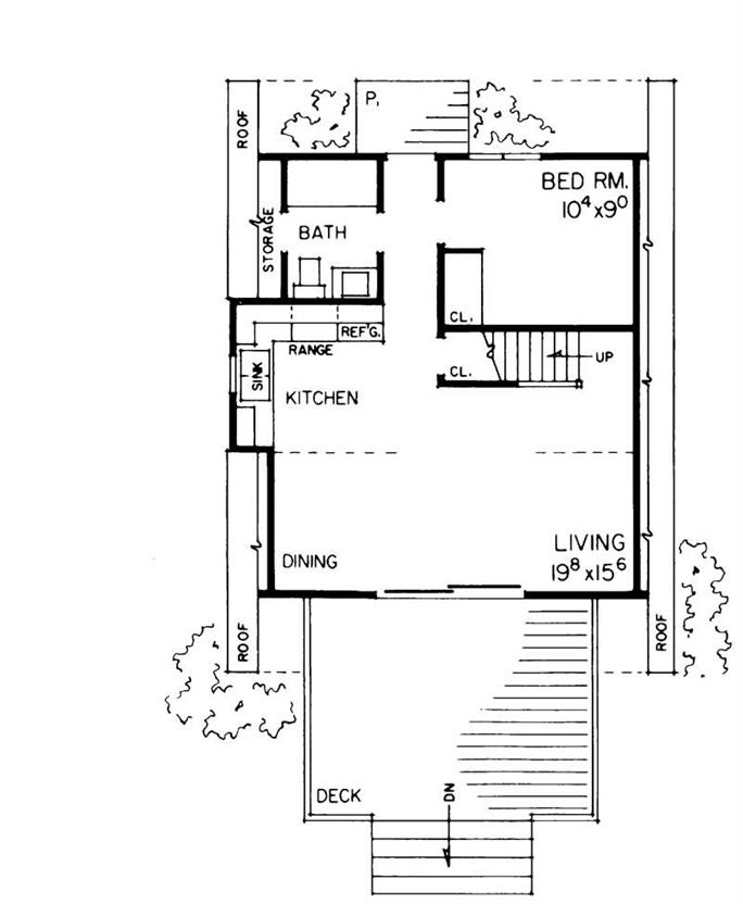 A Frame Home Plan 1 Bedrms 1 Baths 810 Sq Ft 137 1744
