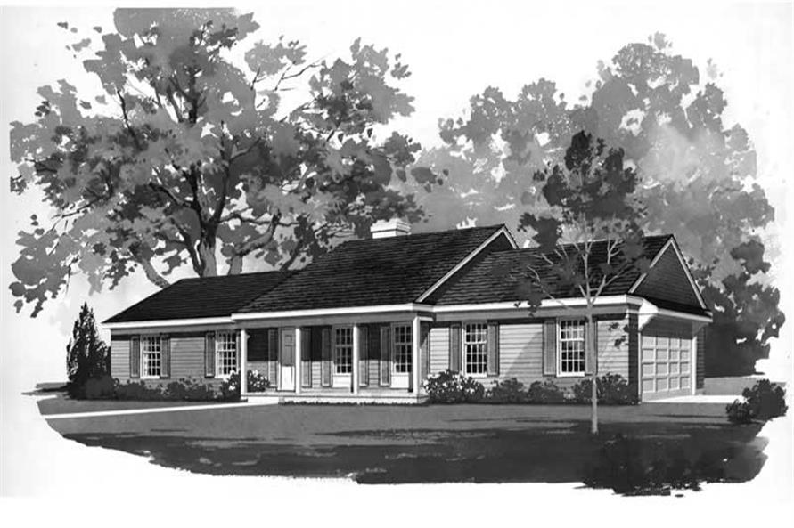 Home Plan Front Elevation of this 3-Bedroom,1536 Sq Ft Plan -137-1746