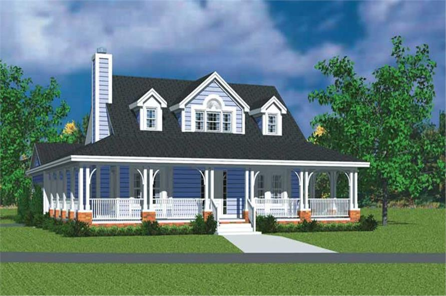 3-Bedroom, 1673 Sq Ft Country Home Plan - 137-1747 - Main Exterior