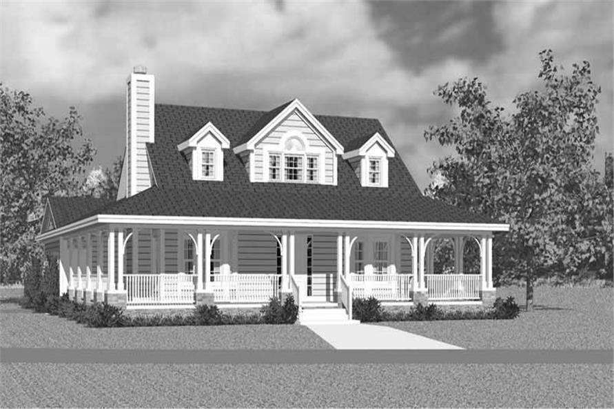 Home Plan Front Elevation of this 3-Bedroom,1673 Sq Ft Plan -137-1747
