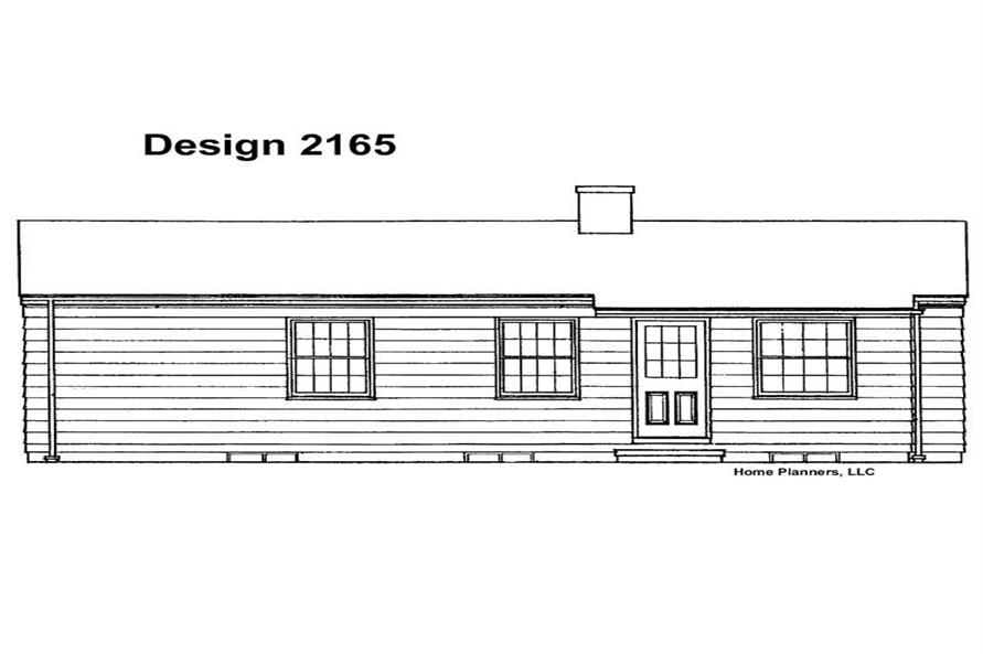 Home Plan Rear Elevation of this 2-Bedroom,880 Sq Ft Plan -137-1748