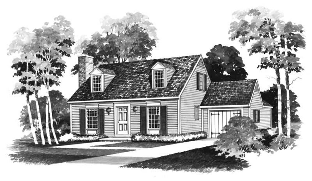 Front elevation of Cape Cod home (ThePlanCollection: House Plan #137-1758)