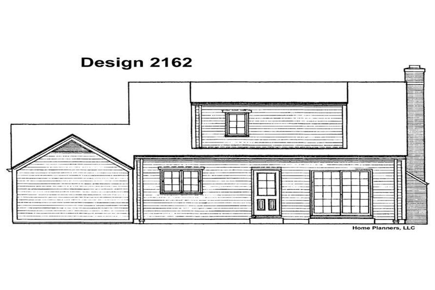 Home Plan Rear Elevation of this 3-Bedroom,1245 Sq Ft Plan -137-1758