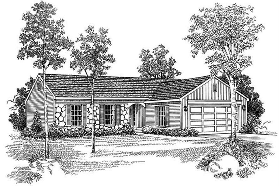 Home Plan Front Elevation of this 3-Bedroom,1267 Sq Ft Plan -137-1769