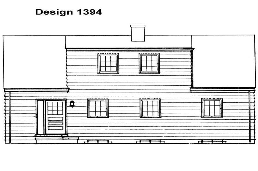 Home Plan Rear Elevation of this 4-Bedroom,1344 Sq Ft Plan -137-1770