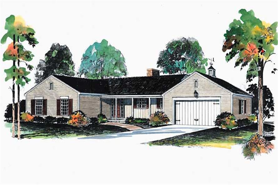 Front elevation of Ranch home (ThePlanCollection: House Plan #137-1780)