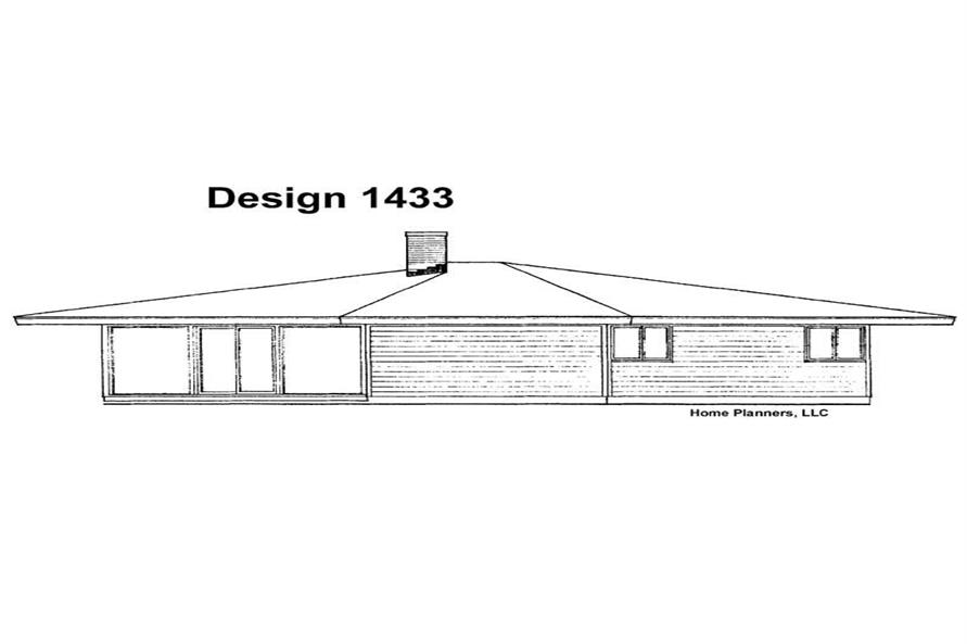 Home Plan Rear Elevation of this 3-Bedroom,1160 Sq Ft Plan -137-1787
