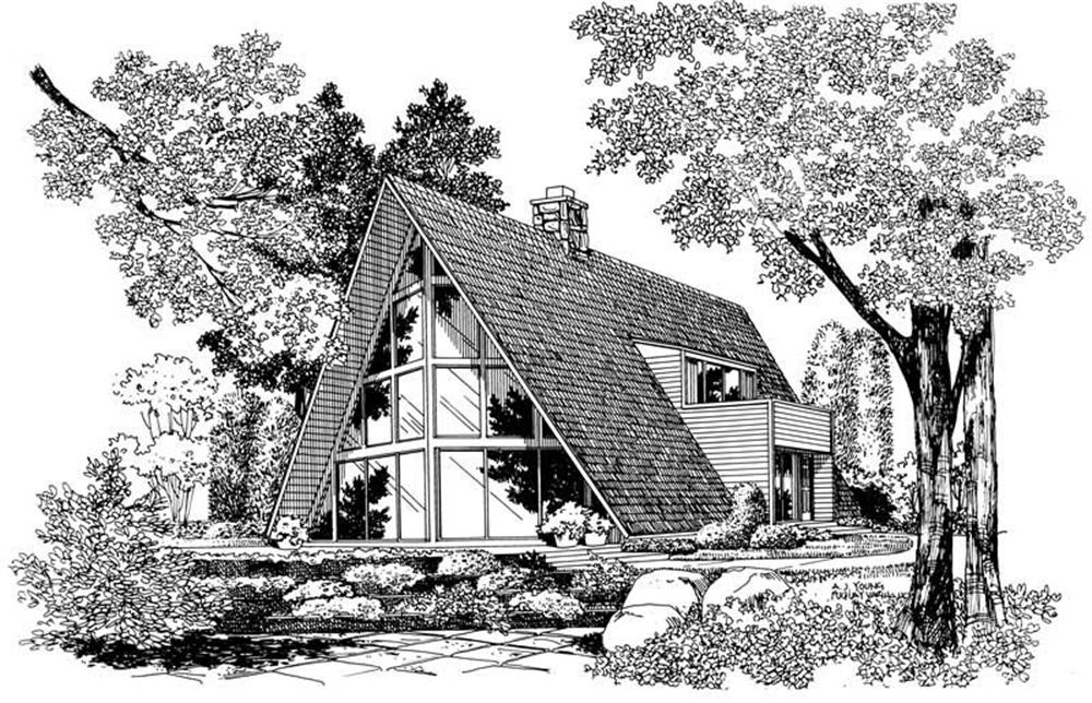 Front elevation of A Frame home (ThePlanCollection: House Plan #137-1791)