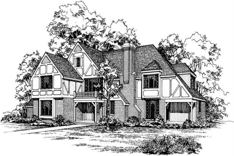 5-Bedroom, 3671 Sq Ft European House Plan - 137-1794 - Front Exterior