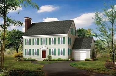 3-Bedroom, 2507 Sq Ft Colonial Home Plan - 137-1812 - Main Exterior