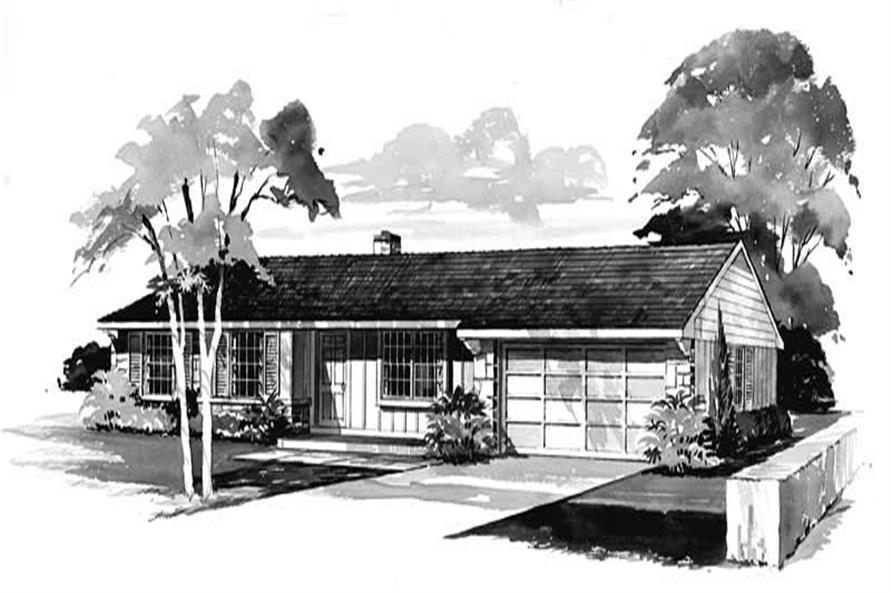 3-Bedroom, 1050 Sq Ft Ranch Home Plan - 137-1814 - Main Exterior