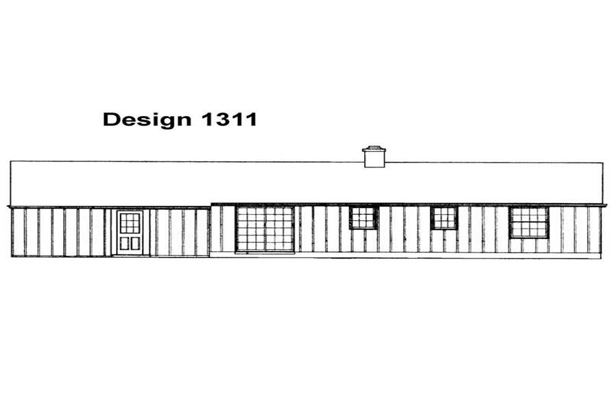 Home Plan Rear Elevation of this 3-Bedroom,1050 Sq Ft Plan -137-1814