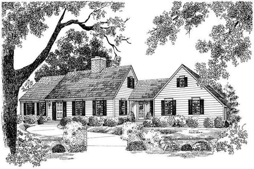 4-Bedroom, 2342 Sq Ft Cape Cod House Plan - 137-1815 - Front Exterior