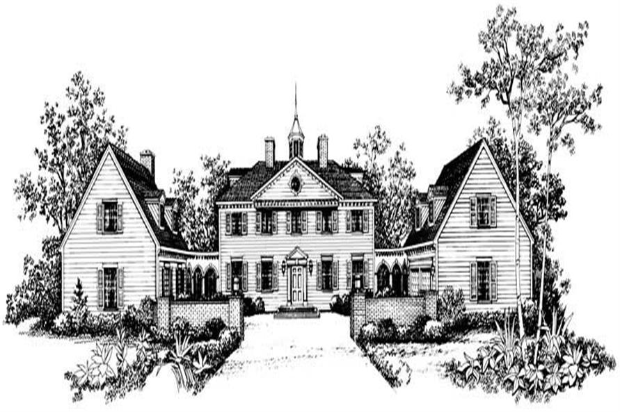 Home Plan Front Elevation of this 5-Bedroom,3450 Sq Ft Plan -137-1835