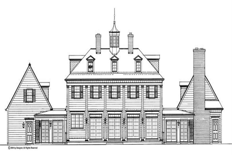 Home Plan Rear Elevation of this 5-Bedroom,3450 Sq Ft Plan -137-1835