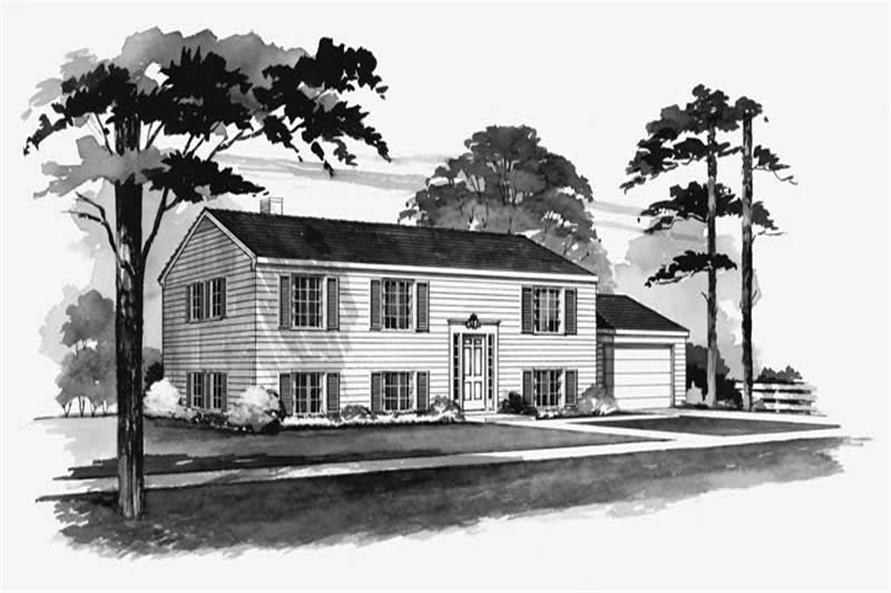 4-Bedroom, 1040 Sq Ft Colonial House Plan - 137-1838 - Front Exterior