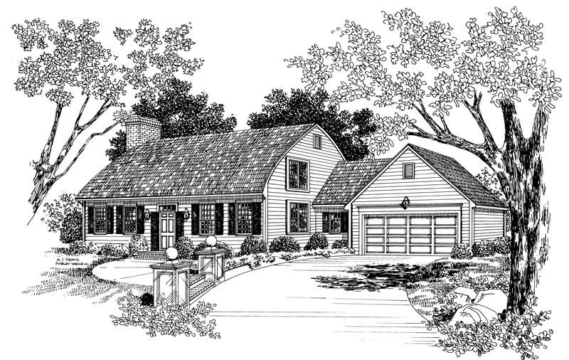 Colonial cape cod house plans home design hw 2644 17524 for Cape cod house plans with basement