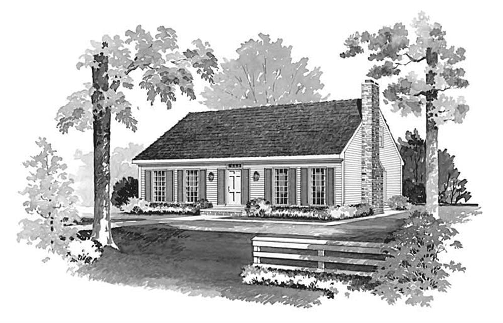 Front elevation of Cape Cod home (ThePlanCollection: House Plan #137-1842)