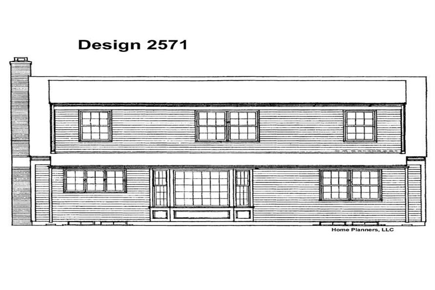 Home Plan Rear Elevation of this 4-Bedroom,1933 Sq Ft Plan -137-1842