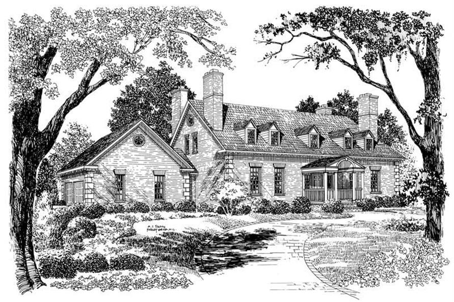 3-Bedroom, 3159 Sq Ft Colonial House Plan - 137-1846 - Front Exterior