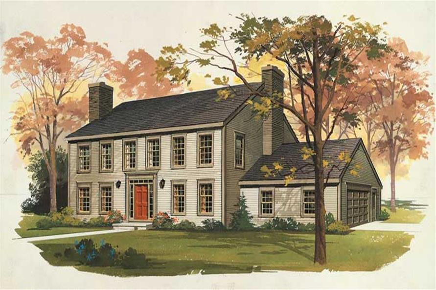 3-Bedroom, 2849 Sq Ft Colonial Home Plan - 137-1848 - Main Exterior