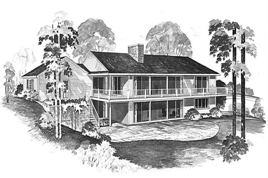 Home Plan Rear Elevation of this 5-Bedroom,1616 Sq Ft Plan -137-1849