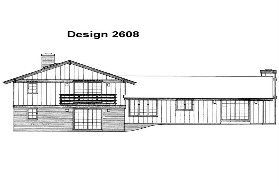 Home Plan Rear Elevation of this 4-Bedroom,1912 Sq Ft Plan -137-1851