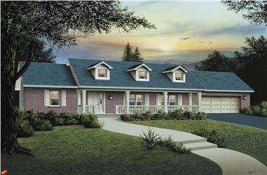3-Bedroom, 1400 Sq Ft Southern House Plan - 138-1001 - Front Exterior