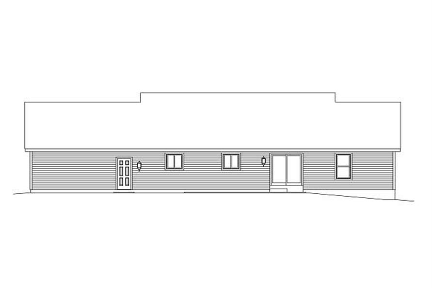 Home Plan Rear Elevation of this 3-Bedroom,1400 Sq Ft Plan -138-1001