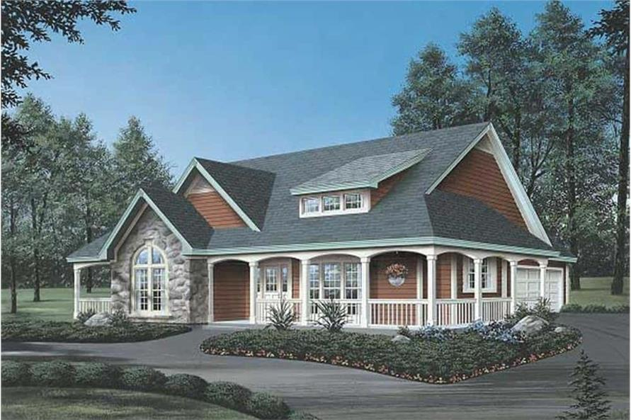 138-1002: Home Plan Rendering-Front View