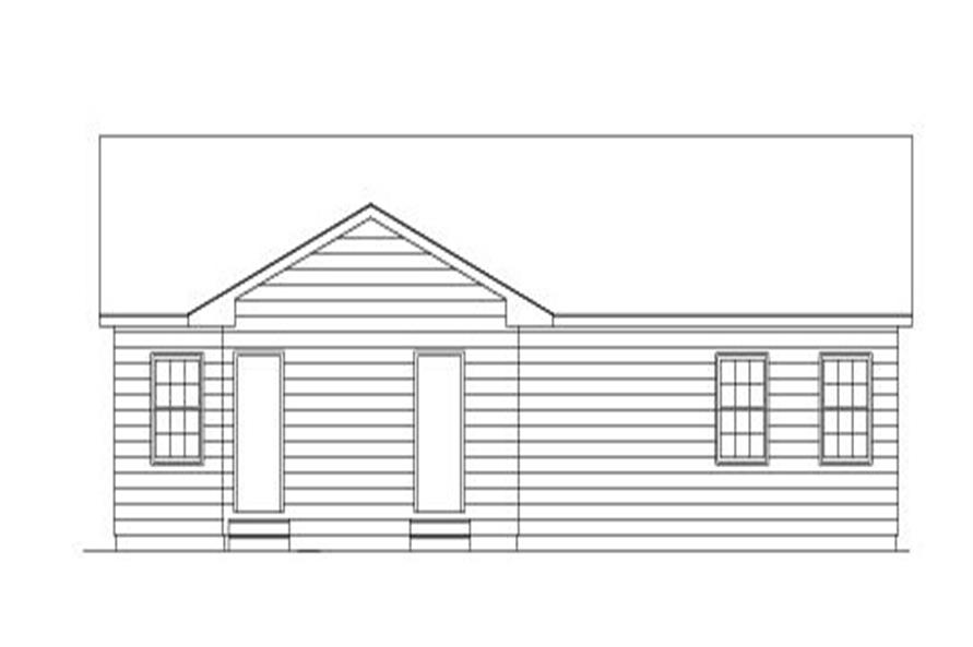 138-1005: Home Plan Rear Elevation