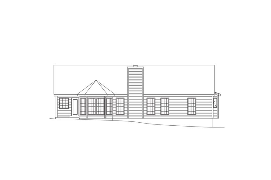 138-1010: Home Plan Rear Elevation