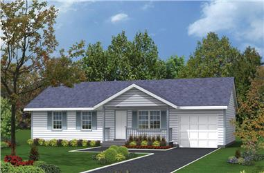 3-Bedroom, 988 Sq Ft Traditional Home Plan - 138-1011 - Main Exterior