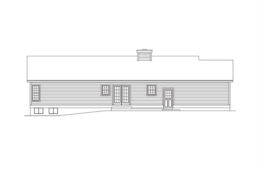 138-1012: Home Plan Rear Elevation