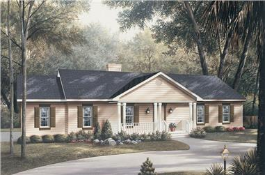3-Bedroom, 1360 Sq Ft Traditional Home Plan - 138-1012 - Main Exterior