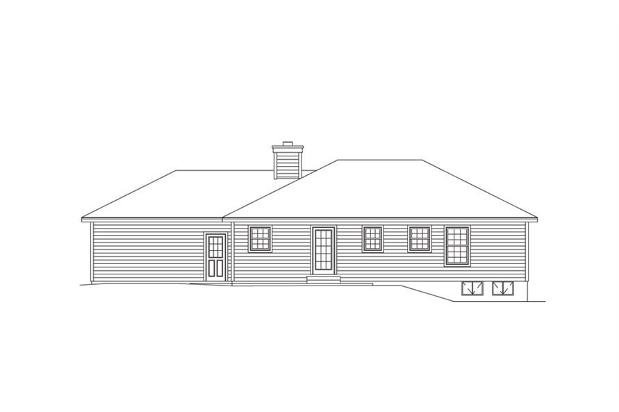 138-1013: Home Plan Rear Elevation